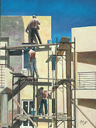 Forties Painting Posters - Men At Work Poster by Theo Michael