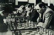 Chess Piece Photo Framed Prints - Men Concentrate On Chess Matches, 1940s Framed Print by Archive Holdings Inc.