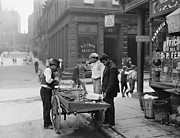 Americans Metal Prints - Men Eating Fresh Clams From A Pushcart Metal Print by Everett