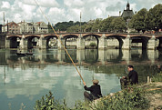 Two Fishing Men Posters - Men Fish On The Marne River Poster by Howell Walker