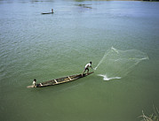 Netting Photos - Men Fishing, Laos, Asia by Bjorn Svensson