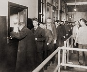 Recessions Prints - Men In Line To Register Print by Everett
