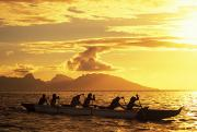 Athlete Photos - Men In Outrigger Canoe by Dana Edmunds - Printscapes