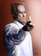 Police Paintings - Men must know their limitations-Clint Eastwood by Reggie Duffie