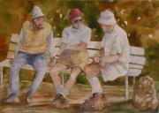 Talking Painting Prints - Men on Bench Print by Wendy Hill