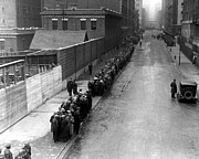 Bread Line Prints - Men Wait In Line For Food On East 25th Print by Everett