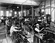 Mechanization Framed Prints - Men Working At Machines Framed Print by Everett