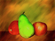 Pears Digital Art Framed Prints - Menage a Troi Framed Print by Kurt Van Wagner