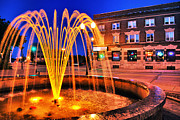 Menasha Posters - Menasha Lighted Fountain Poster by Shutter Happens Photography