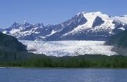 Snow Landscapes Metal Prints - Mendenhall Lake, Mendenhall Towers Metal Print by Rich Reid