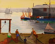 Harbor Drawings Originals - Mending Nets in Gloucester Harbor by Bill Hubbard