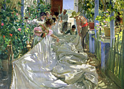 Straw Metal Prints - Mending the Sail Metal Print by Joaquin Sorolla y Bastida