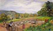 Farm Scenes Posters - Mending the Sheep Pen Poster by William Henry Millais