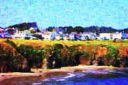 Small Town Digital Art Prints - Mendocino Bluffs Print by Wingsdomain Art and Photography