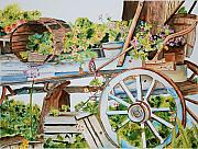Barrel Painting Originals - Mendocino Wagon by Gerald Carpenter