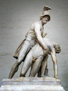 European Artwork Posters - Menelaus and Patroclus Sculpture Poster by Artecco Fine Art Photography - Photograph by Nadja Drieling