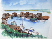 New England Village  Paintings - Menemsha Safe Haven by John Crowther