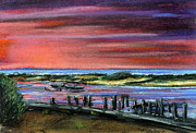 Massachusetts Pastels Posters - Menemsha sunset Poster by Paul Gardner