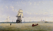 Boats In Water Prints - Meno War Schooners and Royal Navy Yachts Print by Claude T Stanfield Moore