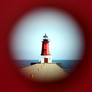 Peep Hole Prints - Menominee Lighthouse through a Rivet Hole Print by Mark J Seefeldt