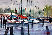Sailboats Paintings - Menominee Marina by Ryan Radke