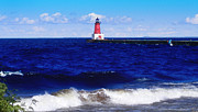 Landscape Photograph Photos - Menominee Michigan North Pier Lighthouse  by Ms Judi