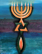 Menorah Paintings - Menorah and Fish by Carolyn Cambronne