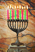 Candle Lit Posters - Menorah Poster by Garry Gay
