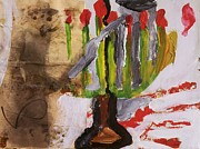 Iris Gill Painting Posters - Menorah Poster by Iris Gill