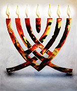 Israel Drawings - Menorah by Ron Cantrell
