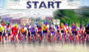 Bicyclists Posters - Mens Bike Race - Starting Line Poster by Steve Ohlsen