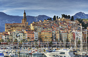 Menton Prints - Menton City Skyline French Riviera Print by Jean-Pierre Pieuchot