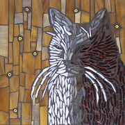 Cats Glass Art - Meo by Barbara Benson Keith