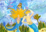 Sue Burgess Paintings - Mer Mum and Comb by Sushila Burgess