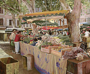 Umbrella Painting Posters - Mercato Provenzale Poster by Guido Borelli