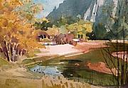 Yosemite Painting Framed Prints - Merced River Encounter Framed Print by Donald Maier