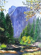 Yosemite Paintings - Merced River Yosemite by Lorna Saiki