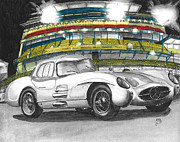 Race Drawings Originals - Mercedes 300 SL Uhlenhaut by Daniela Stever