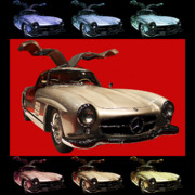 Import Cars Digital Art Prints - Mercedes 300SL Gullwing . Front Angle Artwork Print by Wingsdomain Art and Photography