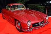 Red Cars Photo Framed Prints - Mercedes 300SL . Red . 7D9172 Framed Print by Wingsdomain Art and Photography