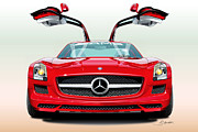 Gullwing Framed Prints - Mercedes Amg Sls Framed Print by Alain Jamar