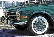 Samuel Sheats Posters - Mercedes Benz 280SL Roadster 2 Poster by Samuel Sheats