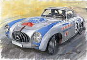 Sport Painting Framed Prints - Mercedes Benz 300 SL 1952 Carrera Panamericana Mexico  Framed Print by Yuriy  Shevchuk