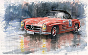 Red Framed Prints - Mercedes Benz 300SL Framed Print by Yuriy  Shevchuk