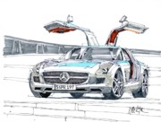 Mercedes Automobile Drawings - Mercedes Benz by Paul Guyer