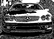 Sam Sheats Framed Prints - Mercedes Benz SL 500 Framed Print by Samuel Sheats