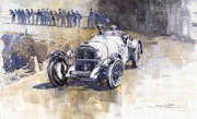 Mercedes Paintings - Mercedes Benz SSK 1930 Rudolf Caracciola by Yuriy  Shevchuk
