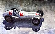 Mercedes Paintings - Mercedes Benz W 125 1937 Swiss GP R Caracciola by Yuriy  Shevchuk