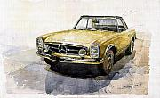 Transportation Tapestries Textiles Prints - Mercedes Benz W113 Pagoda Print by Yuriy  Shevchuk