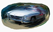 Rg Mcmahon Framed Prints - Mercedes Gullwing Framed Print by RG McMahon